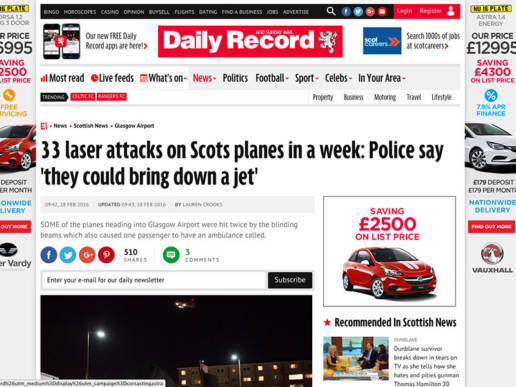 33 laser attacks on Scots planes in a week
