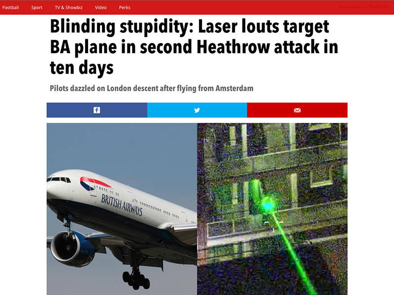 Blinding stupidity Laser louts target BA plane in second Heathrow attack in ten days
