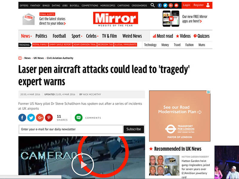 Laser pen aircraft attacks could lead to tragedy expert warns
