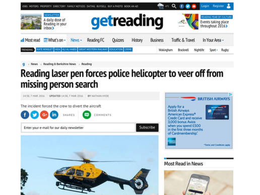 Reading laser pen forces police helicopter to veer off from missing person search