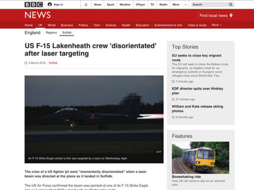 US F-15 Lakenheath crew disorientated after laser targeting