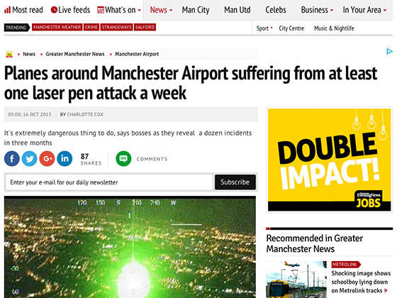 Planes around Manchester Airport suffering from at least one laser pen attack a week