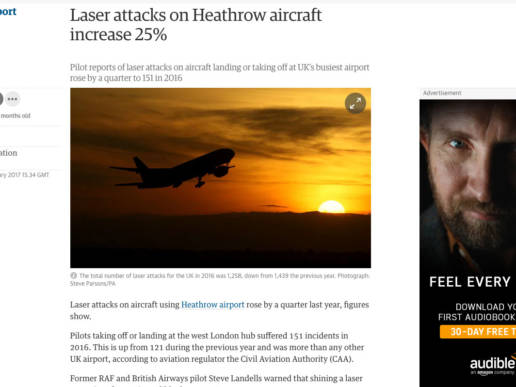 Laser attacks on Heathrow aircraft increase
