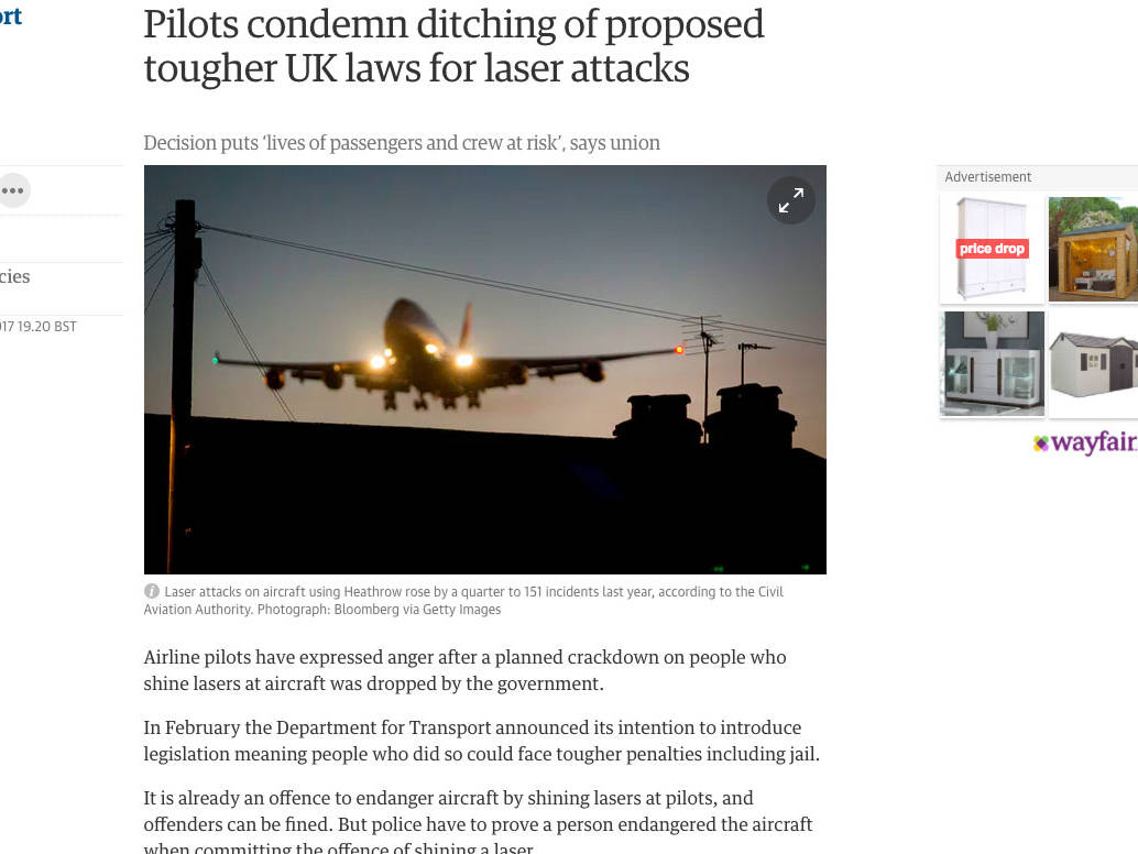 Pilots condemn ditching of proposed tougher UK laws for laser attacks